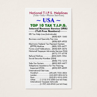 USA TOP 10 TAX T.I.P.S. Helplines Template Business Card