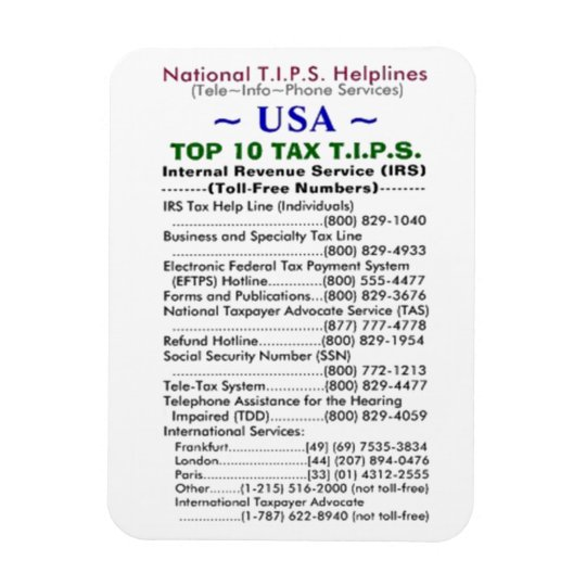 USA TOP 10 TAX T.I.P.S. Helplines Template Magnet