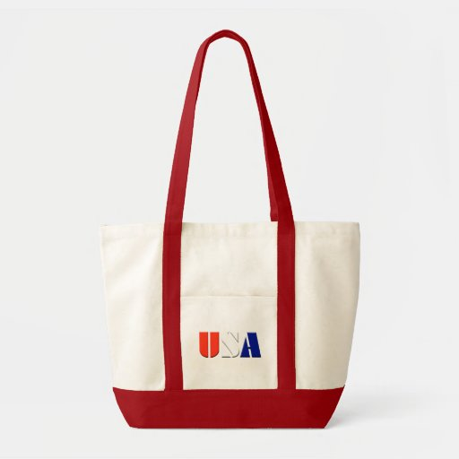 USA Tote Bag with Red Trim