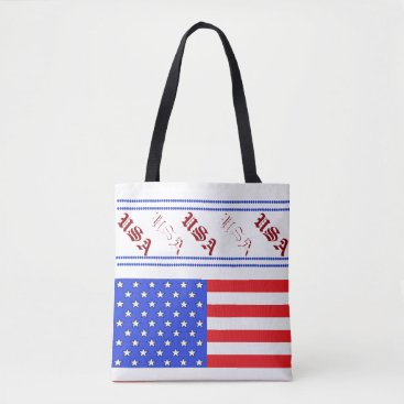 USA Themed USA Tote Bags Fourth of July Red White Blue Picnic