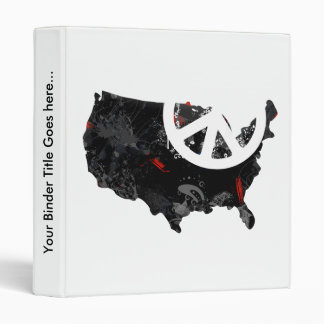 Usa Trendy Peace Sign with American map Binder