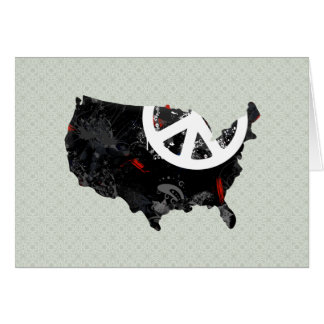 Usa Trendy Peace Sign with American map Greeting Card