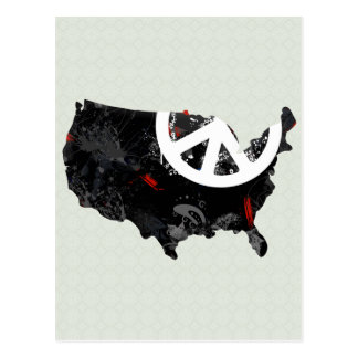 Usa Trendy Peace Sign with American map Postcard