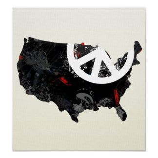 Usa Trendy Peace Sign with American map Poster
