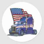 USA Truck Driver Classic Round Sticker