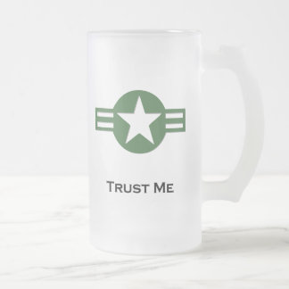 USA Trust Me Green Frosted Glass Beer Mug