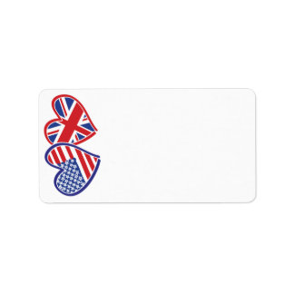 USA UK Flag Heart Address Label