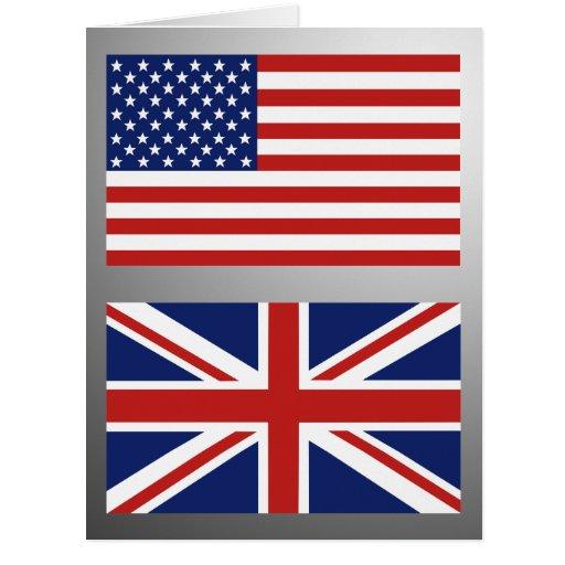 Usa uk flags large greeting card zazzle