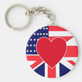 USA/UK Love Basic Round Button Keychain