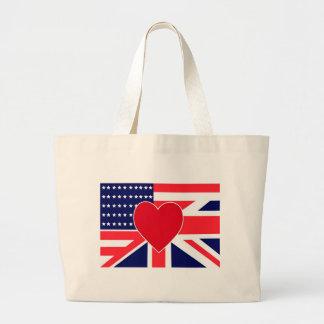 USA/UK Love Jumbo Tote Bag