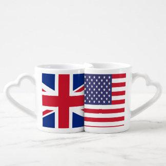 USA UK Patriotic American United Kingdom Flag Coffee Mug Set