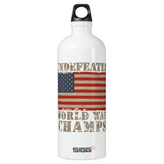 USA, Undefeated World War Champions Aluminum Water Bottle