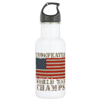 USA, Undefeated World War Champions 18oz Water Bottle
