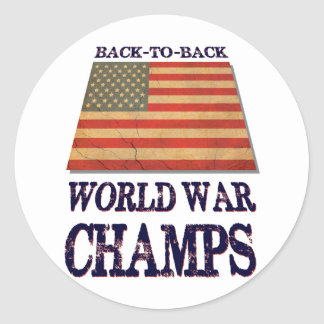 USA Undisputed back to back world war champions Round Stickers