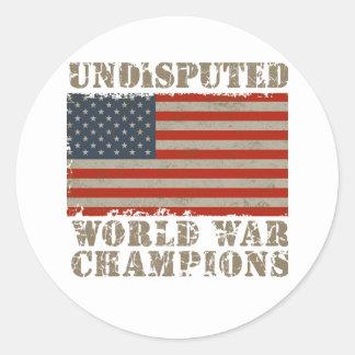 USA, Undisputed World War Champions Round Stickers
