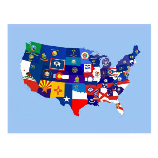 usa united states america republic flag map postcard