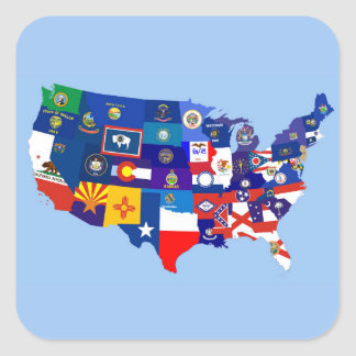 usa united states america republic flag map square sticker