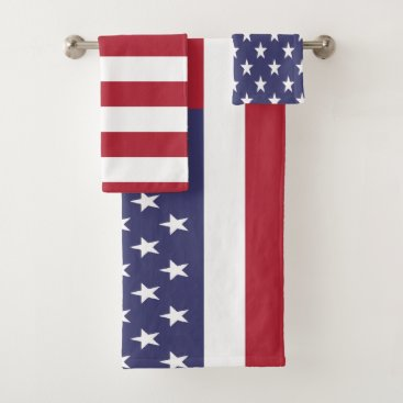 USA Themed USA United States of America American Flag Bath Towel Set