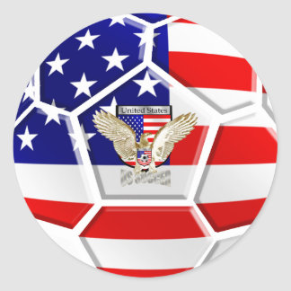 USA United States Soccer Ball gifts for fans Round Sticker