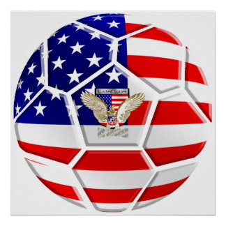 USA United States Soccer Ball gifts sports fan Poster