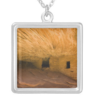 USA, Utah, Cedar Mesa, Mule Canyon. Sandstone Square Pendant Necklace