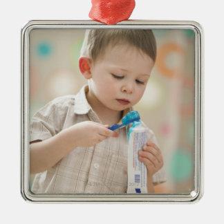 USA, Utah, Lehi, boy (2-3) brushing teeth Metal Ornament