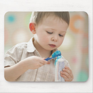 USA, Utah, Lehi, boy (2-3) brushing teeth Mouse Pad