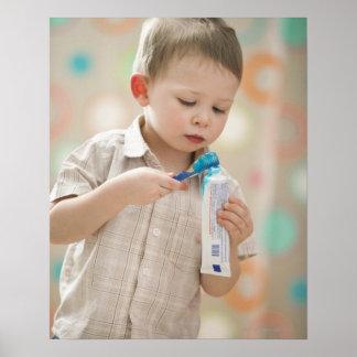 USA, Utah, Lehi, boy (2-3) brushing teeth Poster
