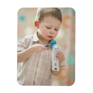 USA, Utah, Lehi, boy (2-3) brushing teeth Rectangular Photo Magnet