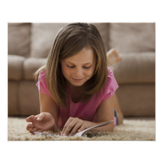 USA, Utah, Lehi, Girl (10-11) lying on rug, Poster
