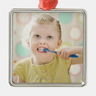 USA, Utah, Lehi, girl (2-3) brushing teeth Metal Ornament