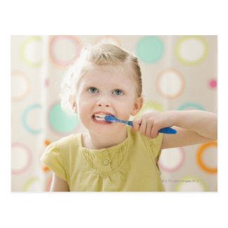 USA, Utah, Lehi, girl (2-3) brushing teeth Post Card