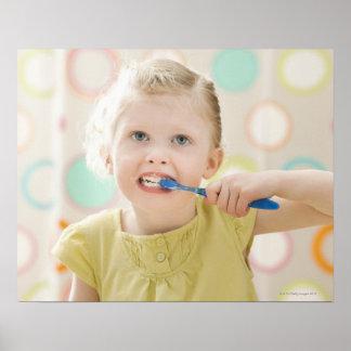 USA, Utah, Lehi, girl (2-3) brushing teeth Poster