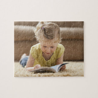 USA, Utah, Lehi, Girl (2-3) lying on rug, Jigsaw Puzzle
