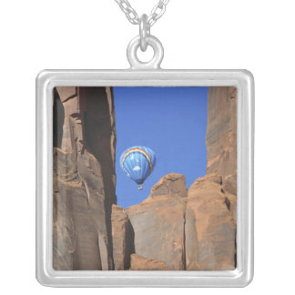USA, Utah, Monument Valley. A rainbow hot-air Square Pendant Necklace