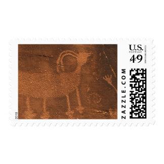 USA, Utah. Prehistoric petroglyph rock art at 2 Postage Stamp