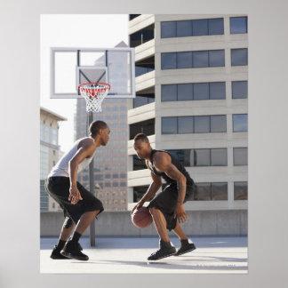 USA, Utah, Salt Lake City, two young men playing Poster