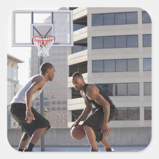 USA, Utah, Salt Lake City, two young men playing Square Sticker