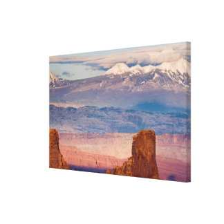 USA, Utah. Scenic of La Sal Mountains from Dead Canvas Print