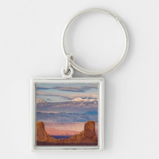 USA, Utah. Scenic of La Sal Mountains from Dead Silver-Colored Square Keychain