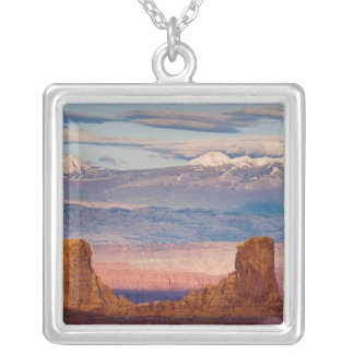 USA, Utah. Scenic of La Sal Mountains from Dead Square Pendant Necklace