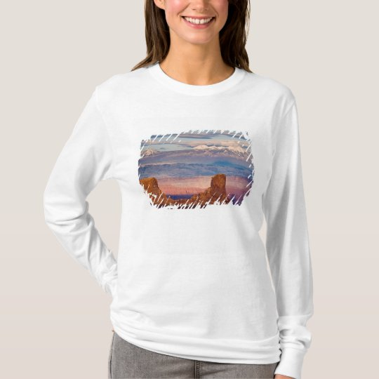 USA, Utah. Scenic of La Sal Mountains from Dead T-Shirt