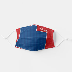 USA Utah State Stars and Stripes Map Cloth Face Mask
