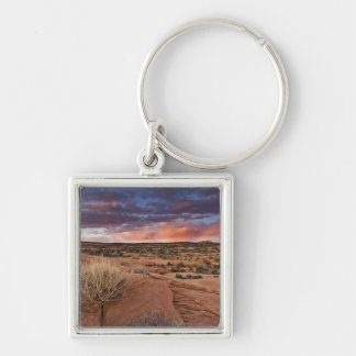 USA, Utah. Sunset on Poison Spider Mesa near Silver-Colored Square Keychain