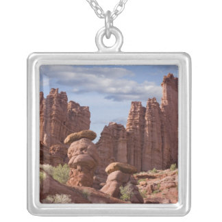 USA, Utah. View of Fisher Towers. Credit as: Don Silver Plated Necklace
