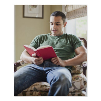 USA, Utah, Young man reading book Poster