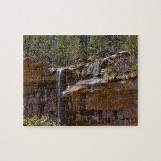 USA, Utah, Zion National Park, Water Falls at Jigsaw Puzzle