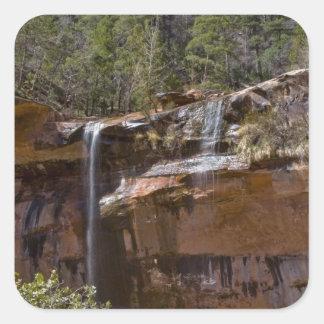 USA, Utah, Zion National Park, Water Falls at Square Sticker