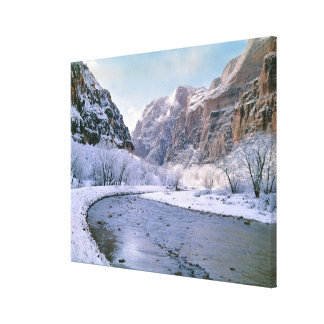 USA, Utah, Zion NP. New snow covers the canyon Canvas Print