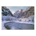 USA, Utah, Zion NP. New snow covers the canyon Card